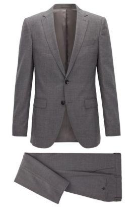 Melierter Slim-Fit Anzug aus Schurwolle , Grau