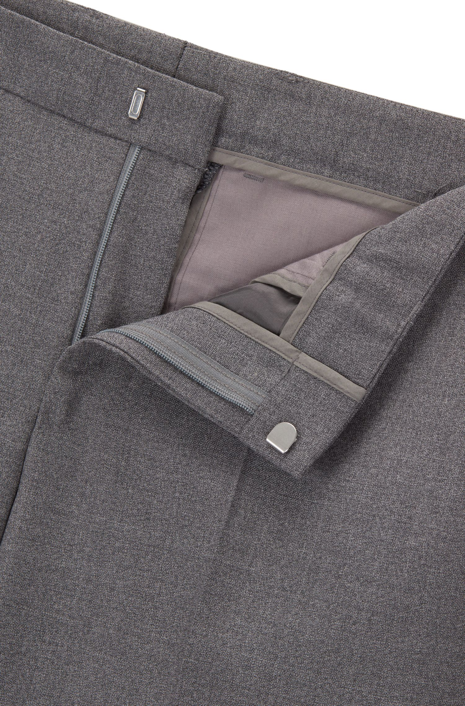 Melange virgin-wool suit in a slim fit