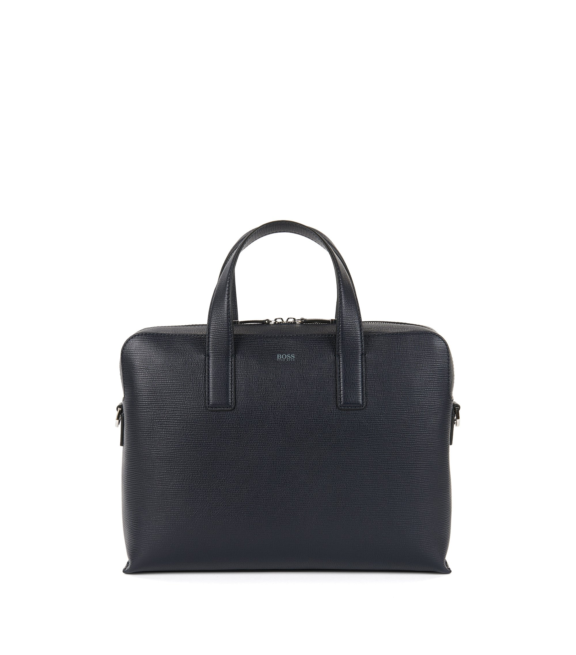 Document case in printed Italian leather, Dark Blue