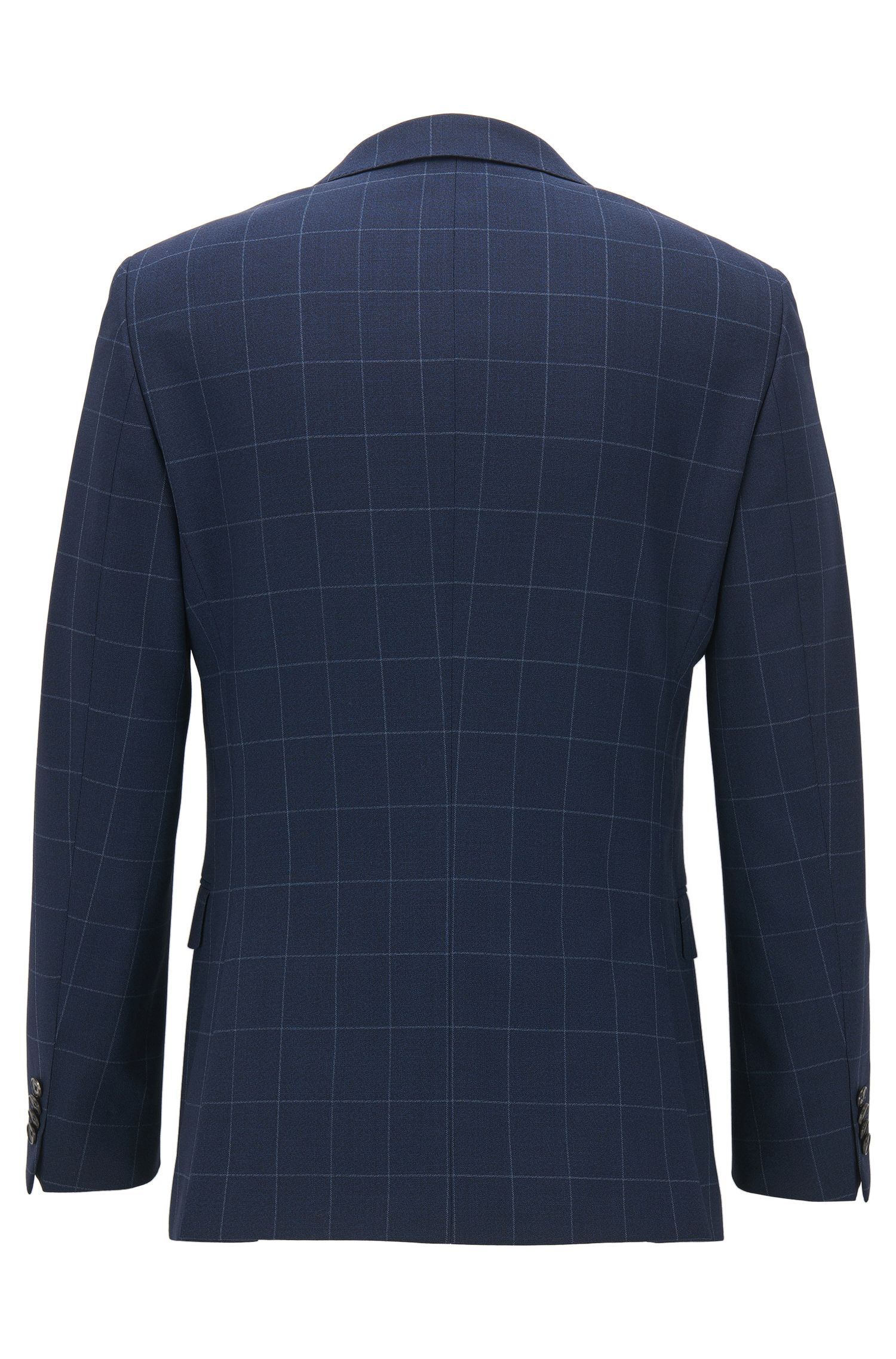 Slim-fit three-piece suit in plain-check virgin wool
