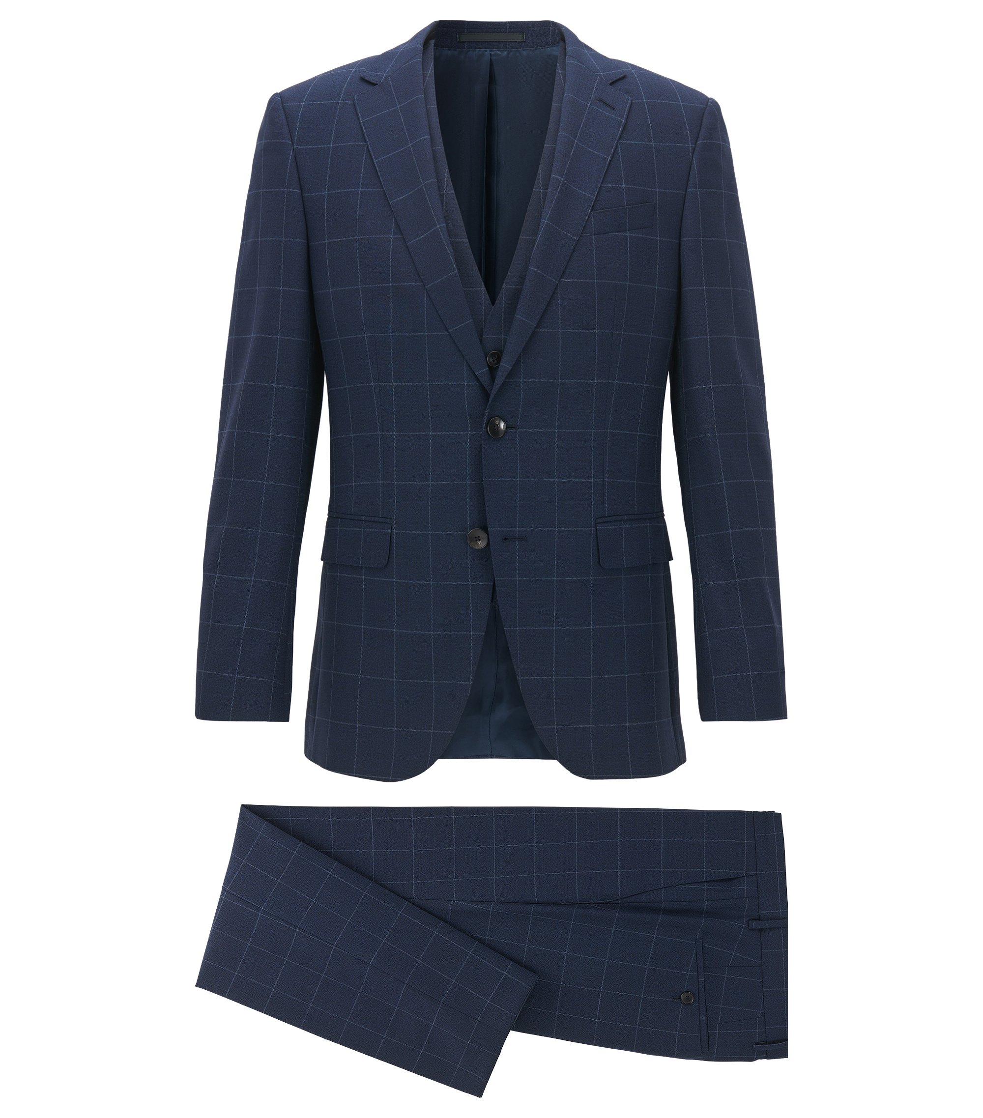 Slim-fit three-piece suit in plain-check virgin wool, Dark Blue