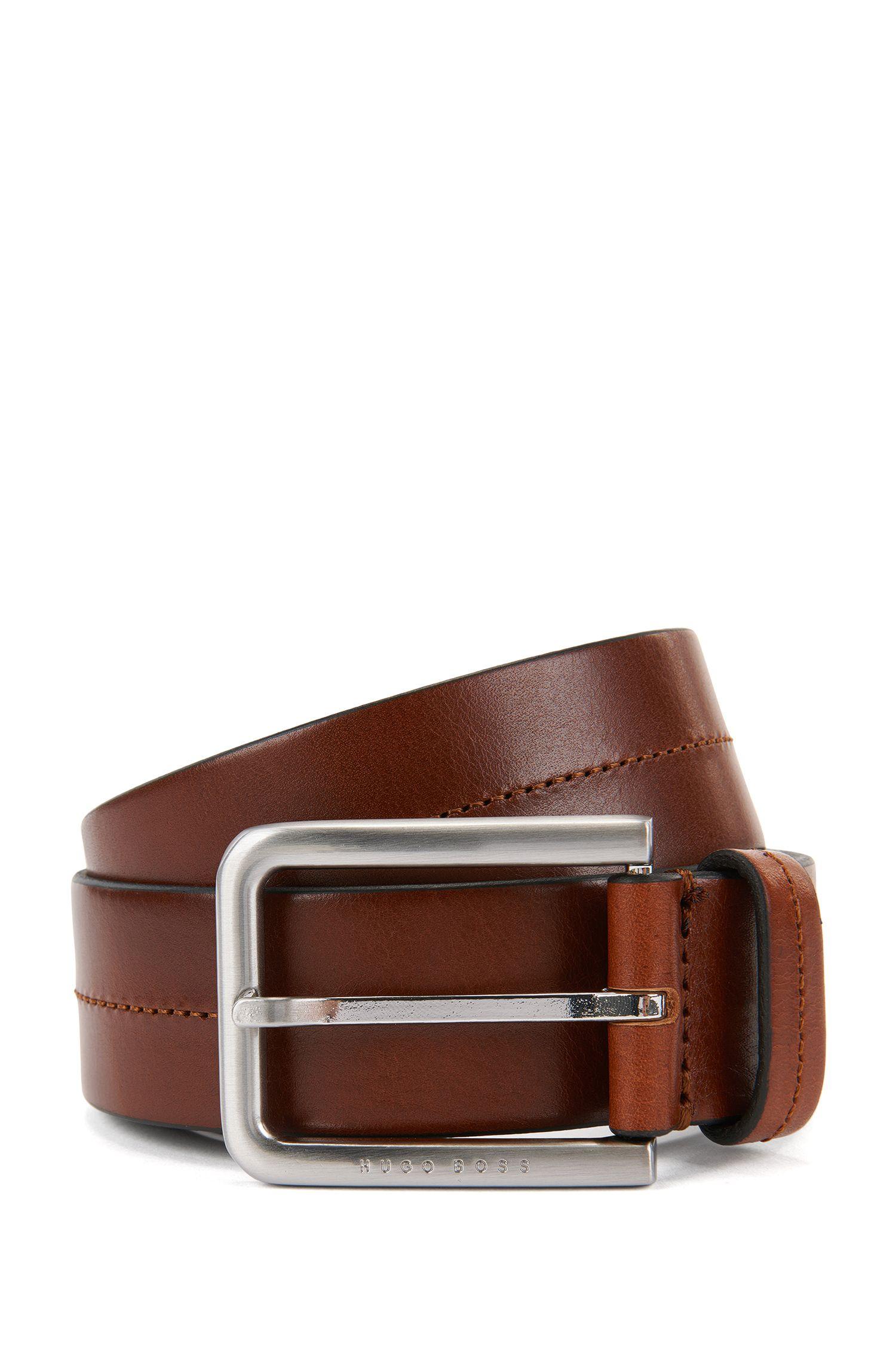 Leather belt with tonal stitching
