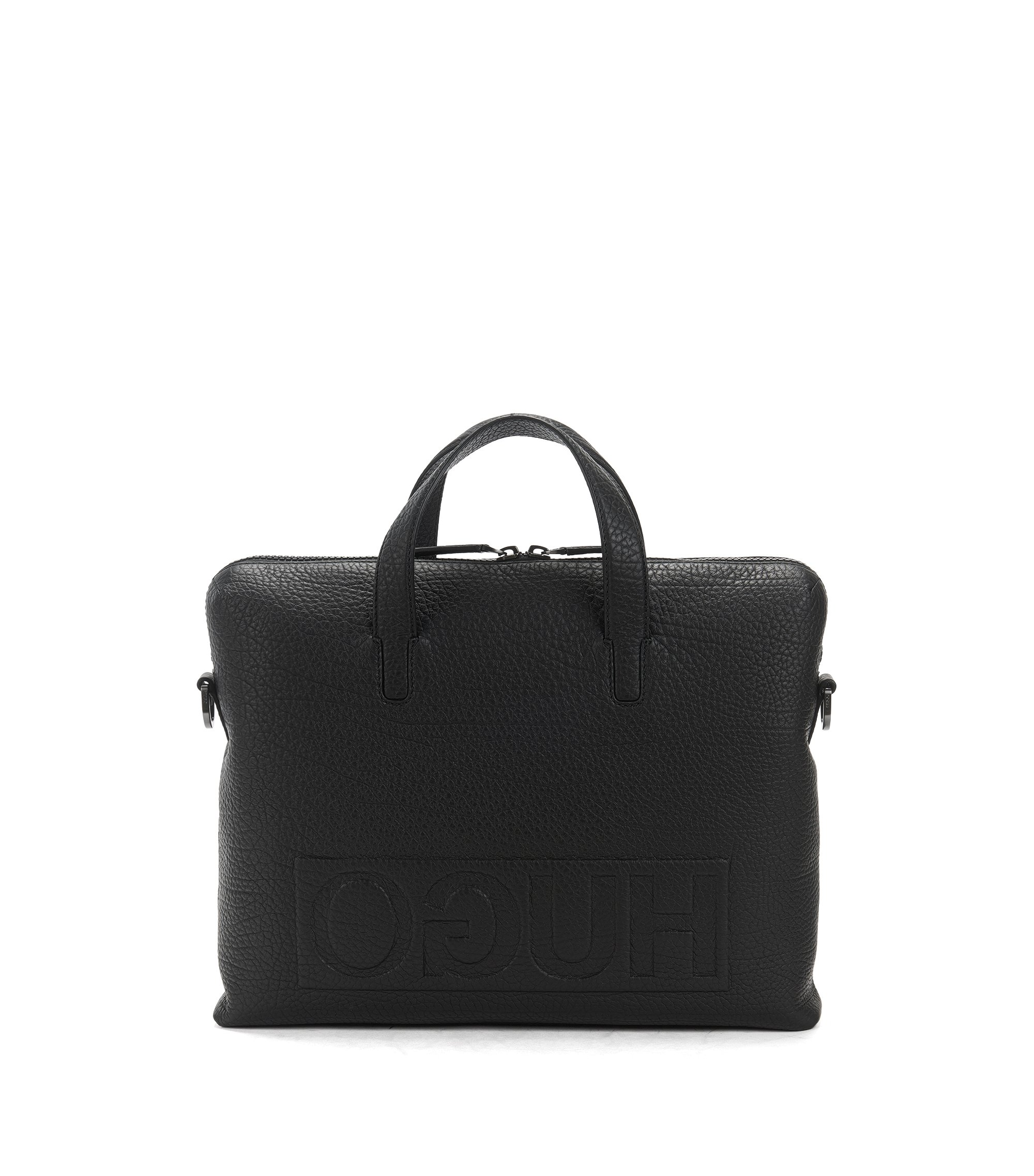 Document case in buffalo-embossed leather, Black