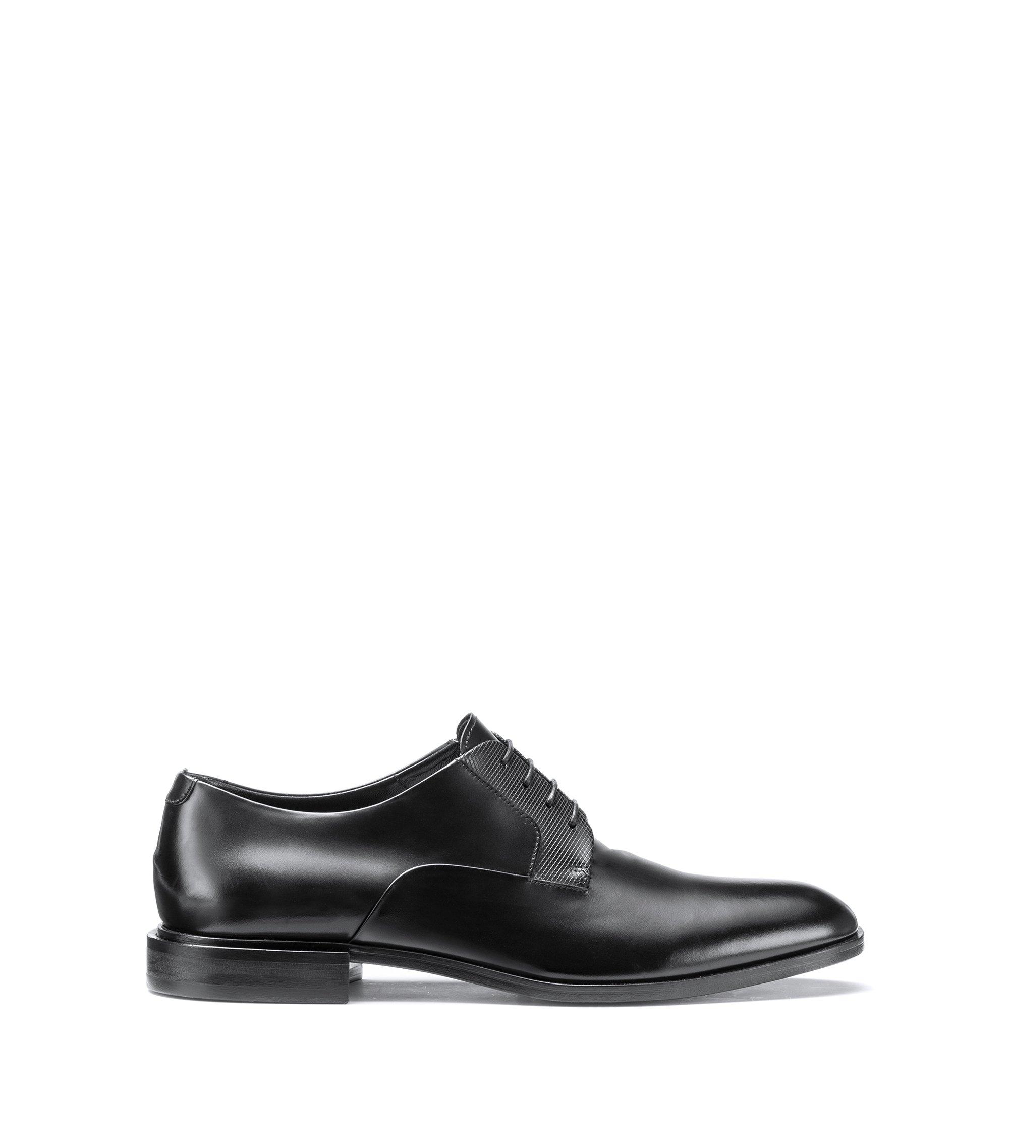 Zapatos Derby con cordones en piel lustrada, Negro