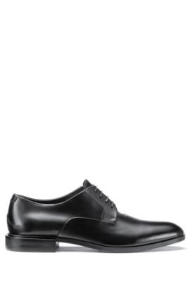 Lace-up Derby shoes in polished leather, Black