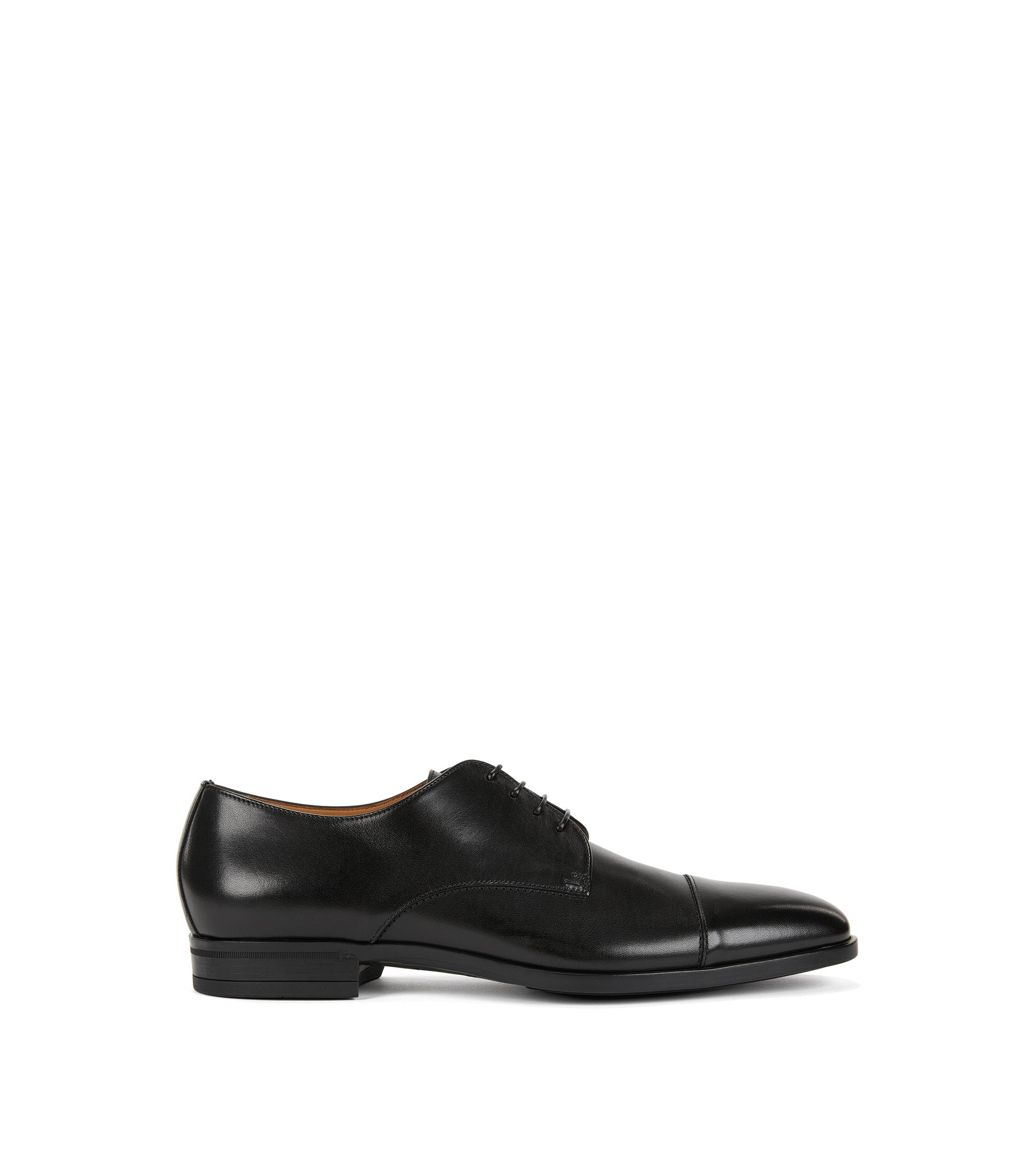 Derby shoes in vegetable-tanned leather, Black