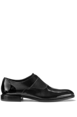 Slip-on shoes in patent leather with laser detail, Black