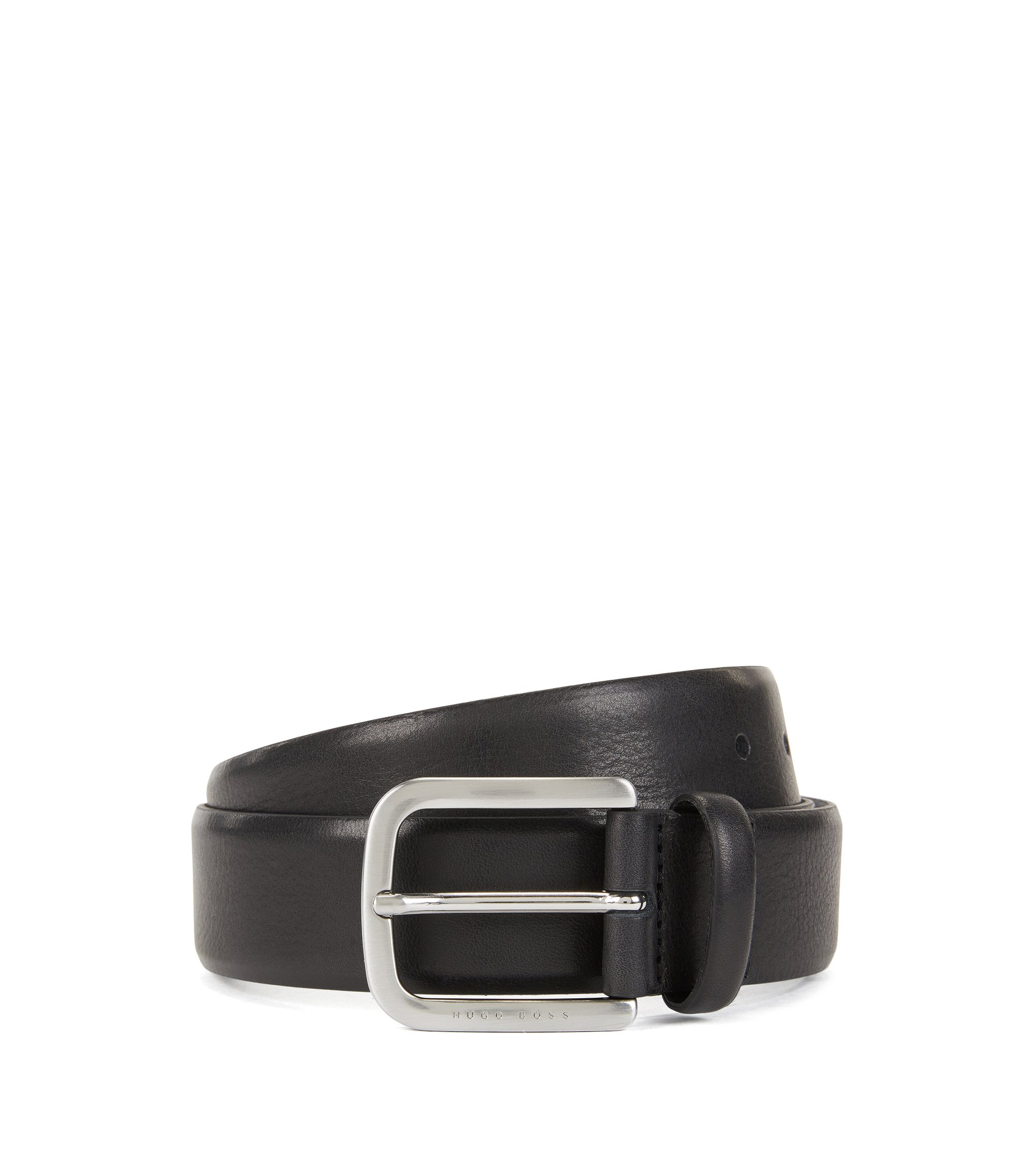 Belt in hand-brushed leather, Black