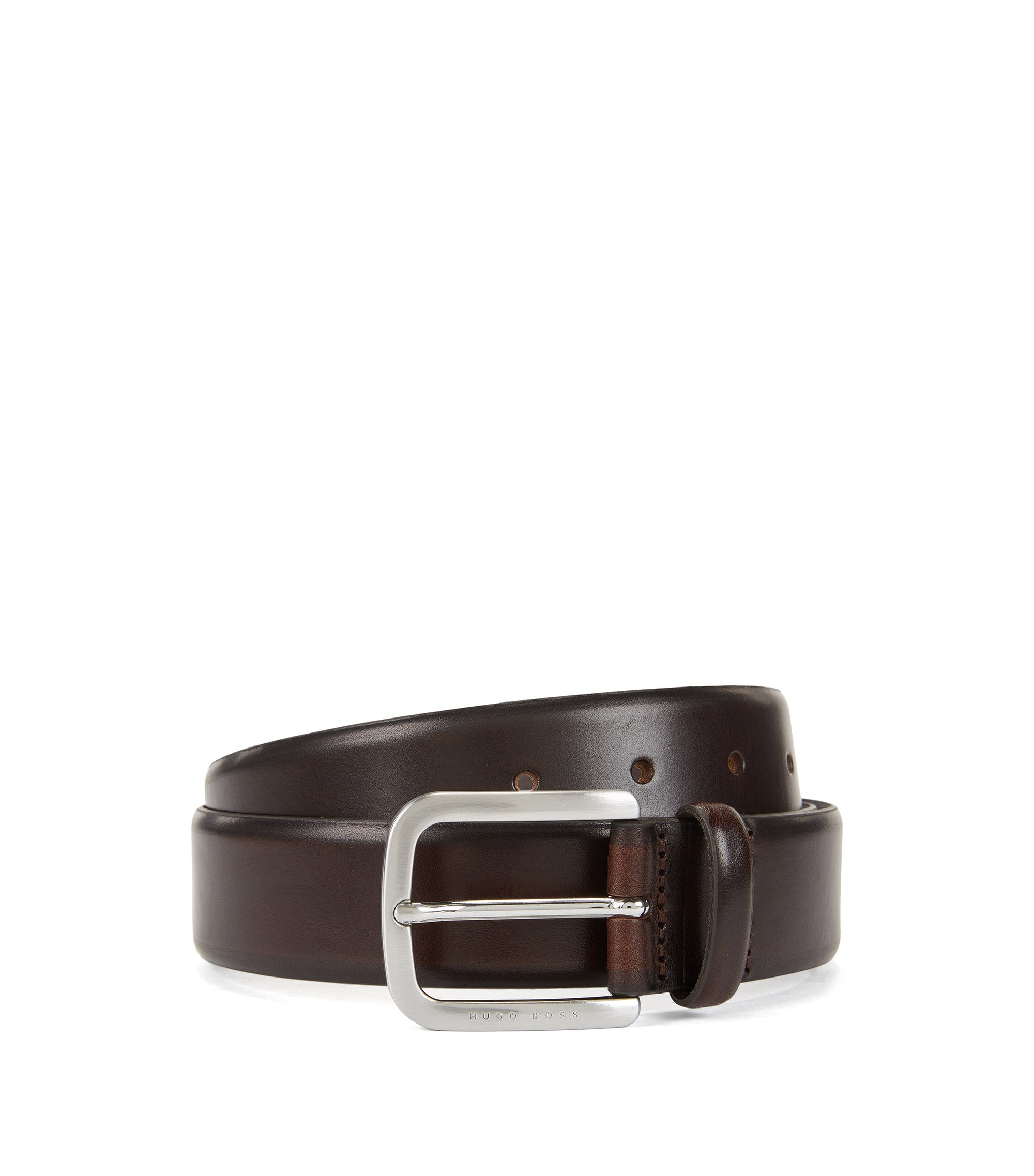 Belt in hand-brushed leather, Dark Brown