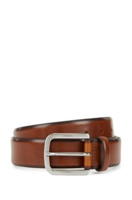 Belt in hand-brushed leather, Brown