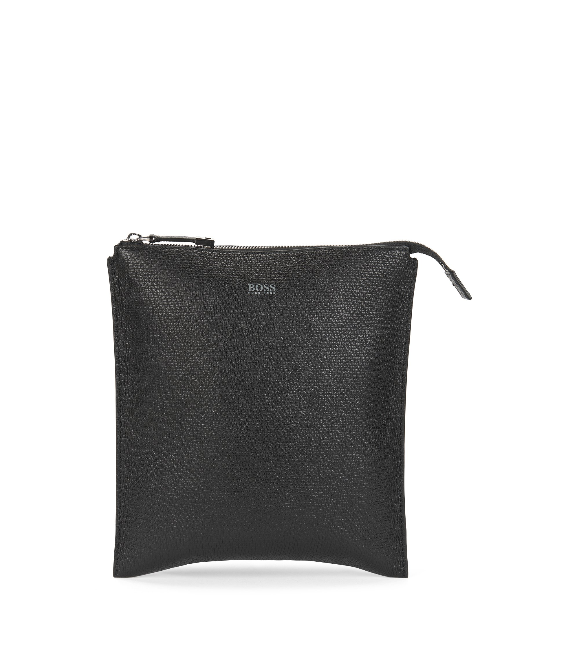 Envelope bag in printed Italian leather, Black