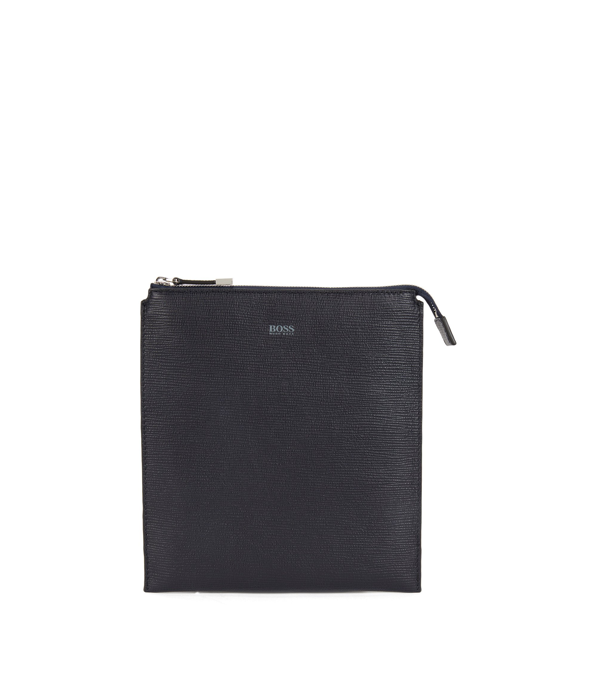 Envelope bag in printed Italian leather, Dark Blue