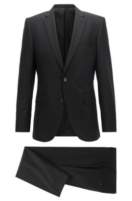 Slim-fit suit in a virgin wool blend, Black
