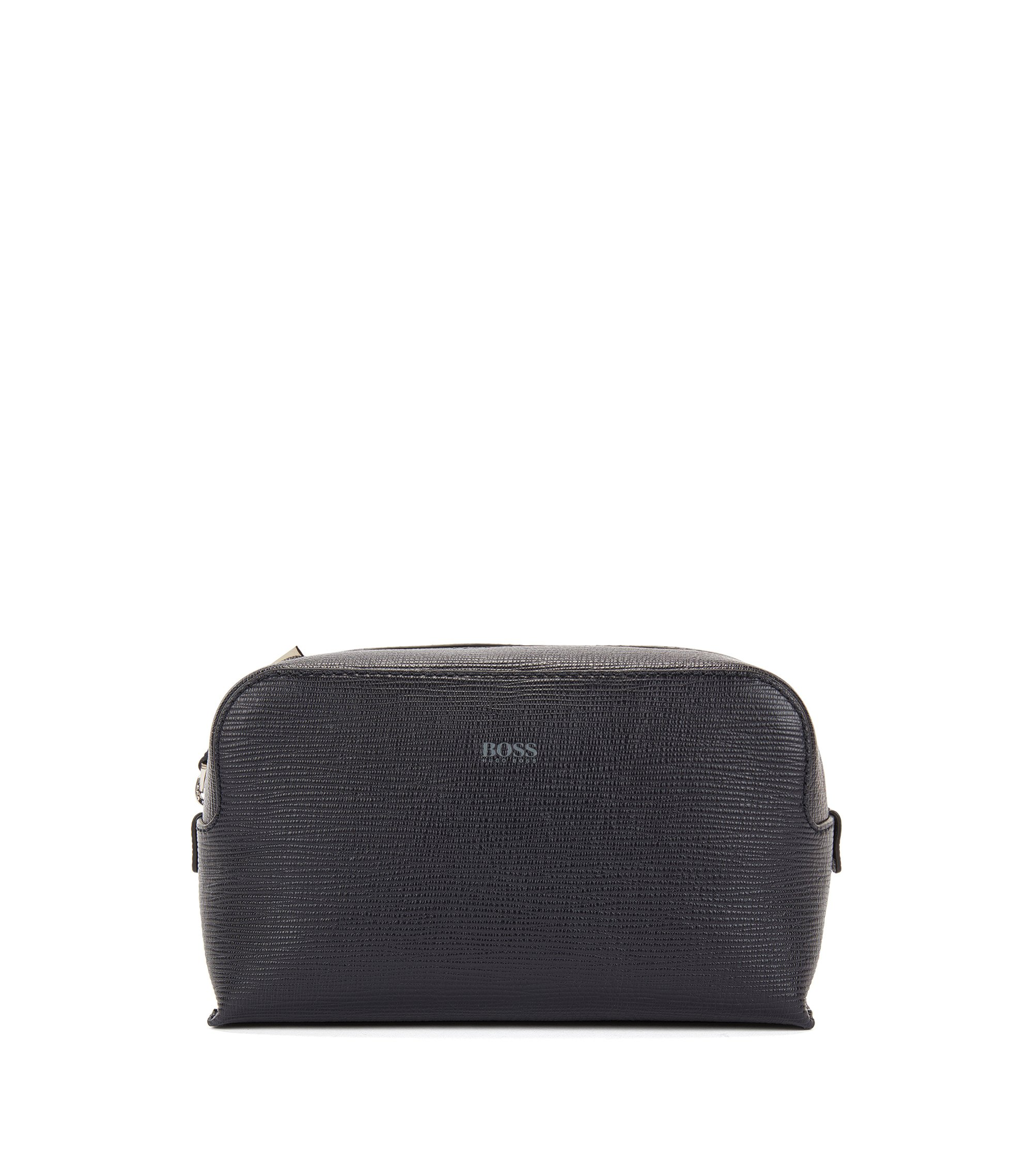 Wash bag in printed Italian leather, Dark Blue