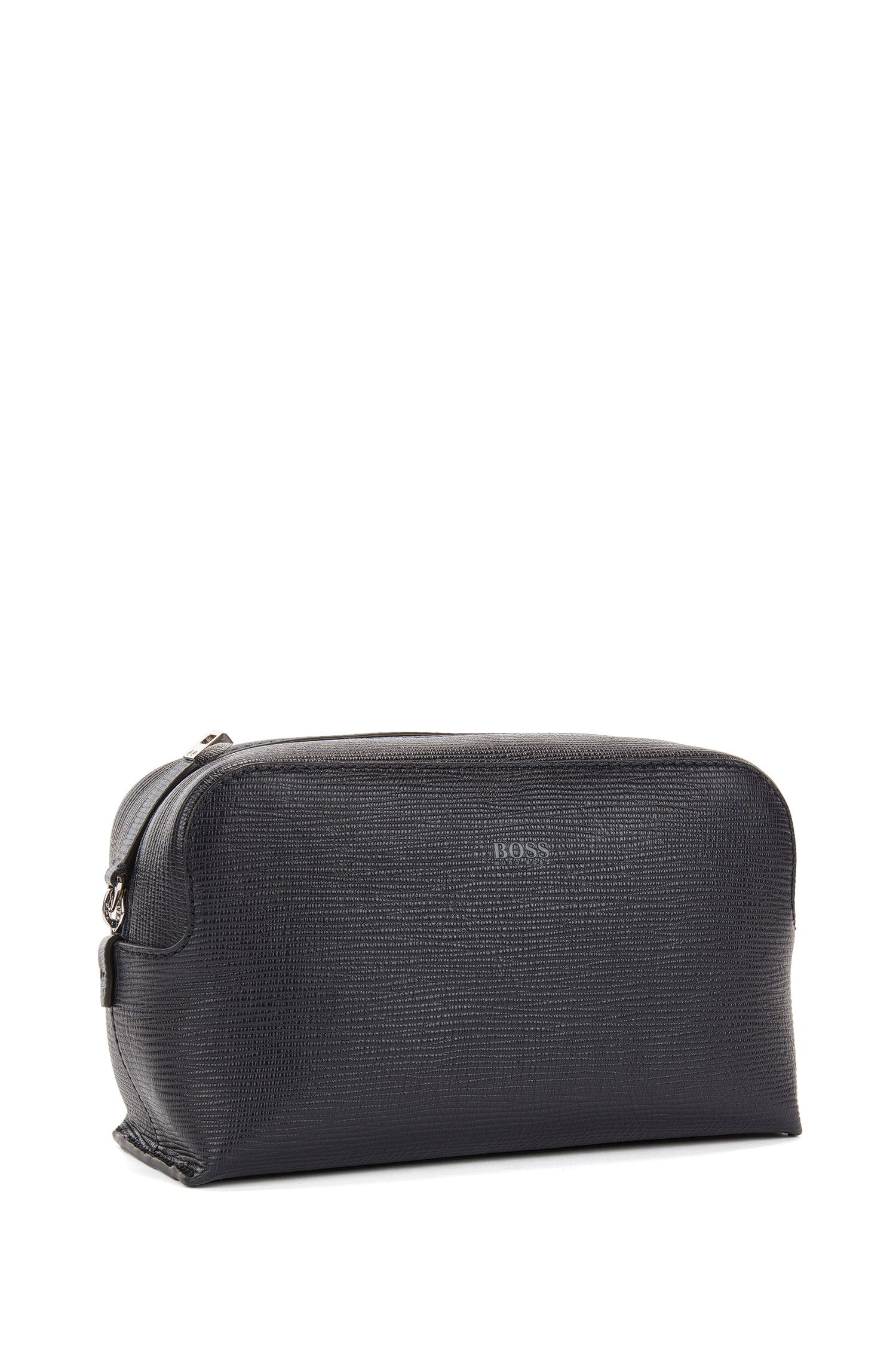 Wash bag in printed Italian leather