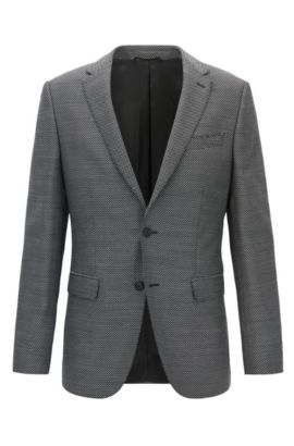 Slim-fit jacket in virgin wool, Grey