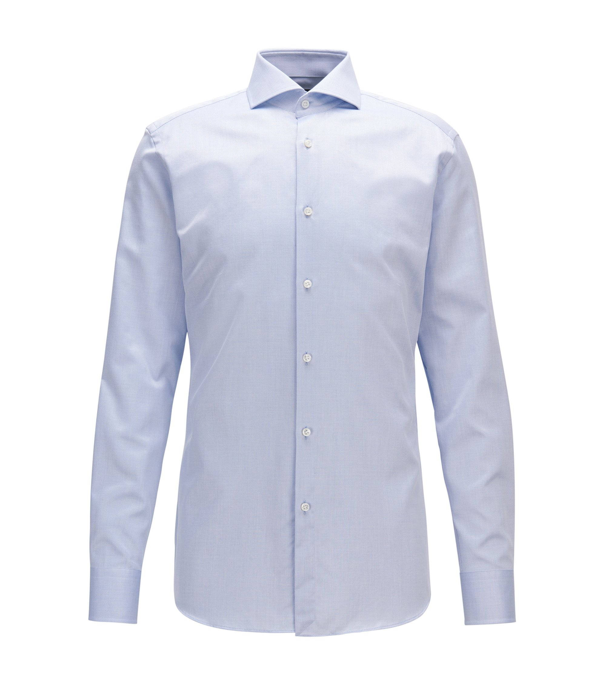 Camicia slim fit in cotone con microlavorazione e con bottoni in madreperla, Celeste