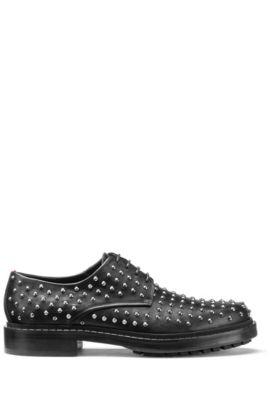 Embellished Derby shoes in soft leather, Black
