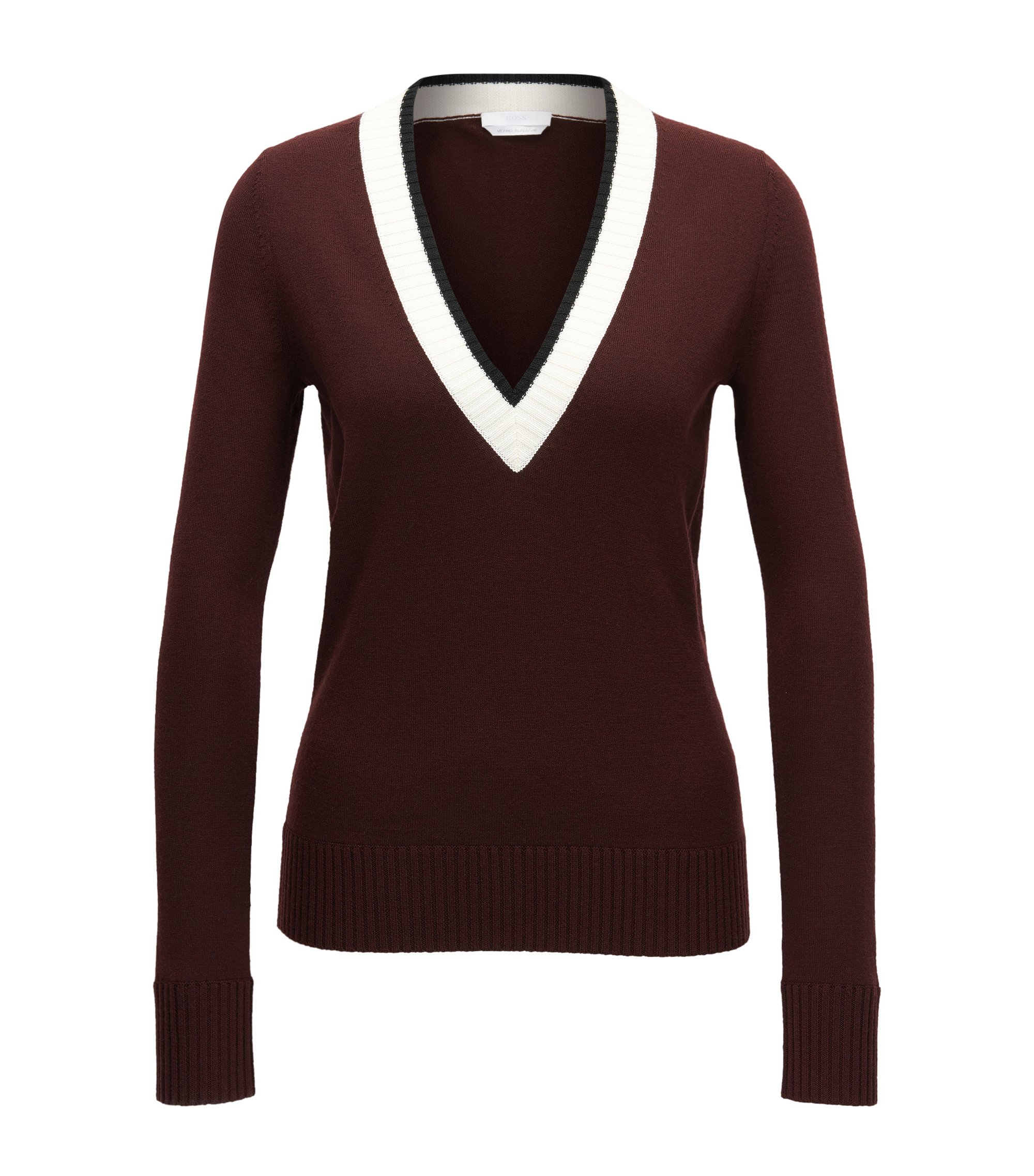 Cropped V-neck sweater in mercerised virgin wool, Dark Red