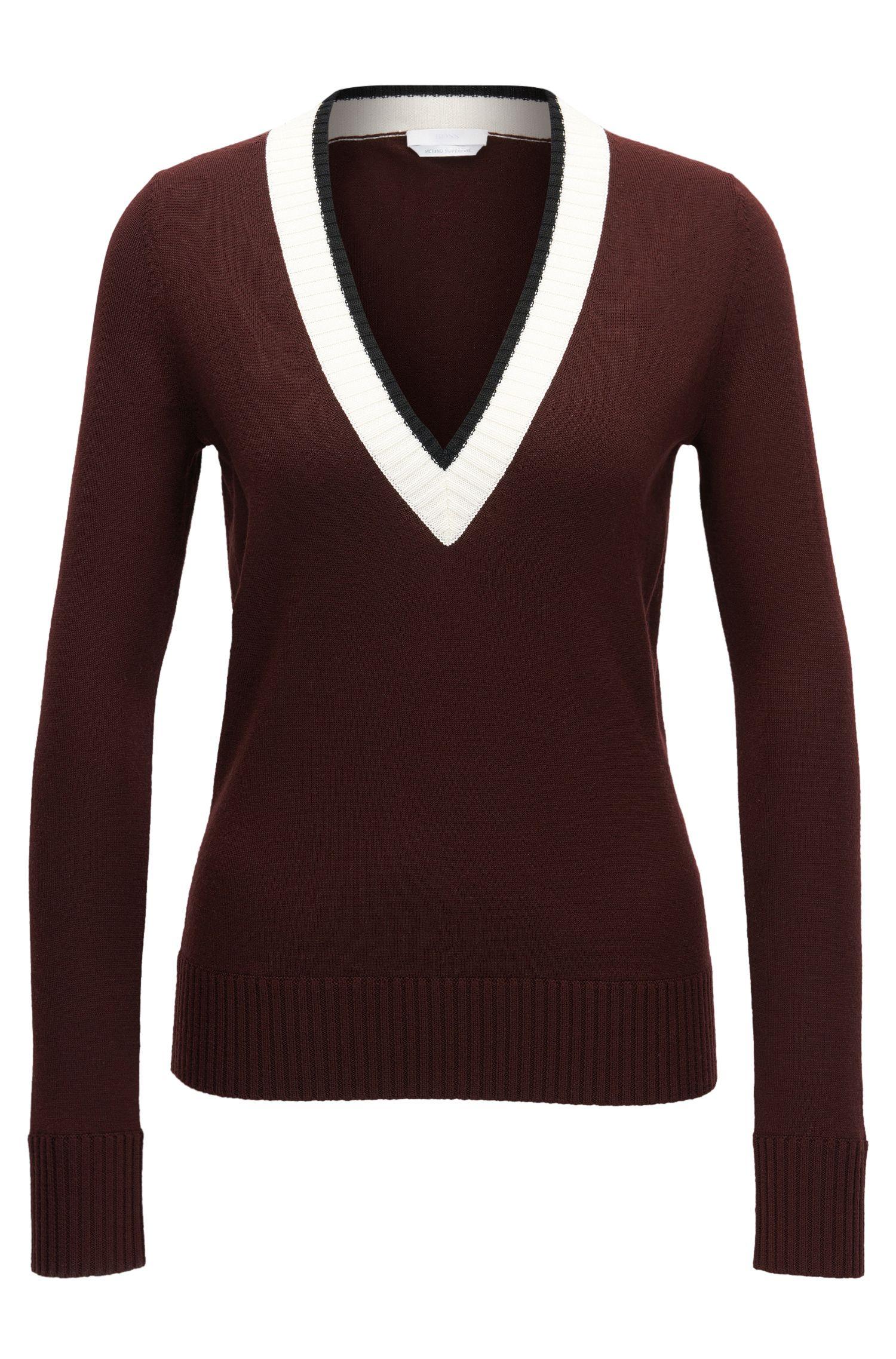 Pullover aus merzerisierter Schurwolle in Cropped-Länge mit V-Ausschnitt