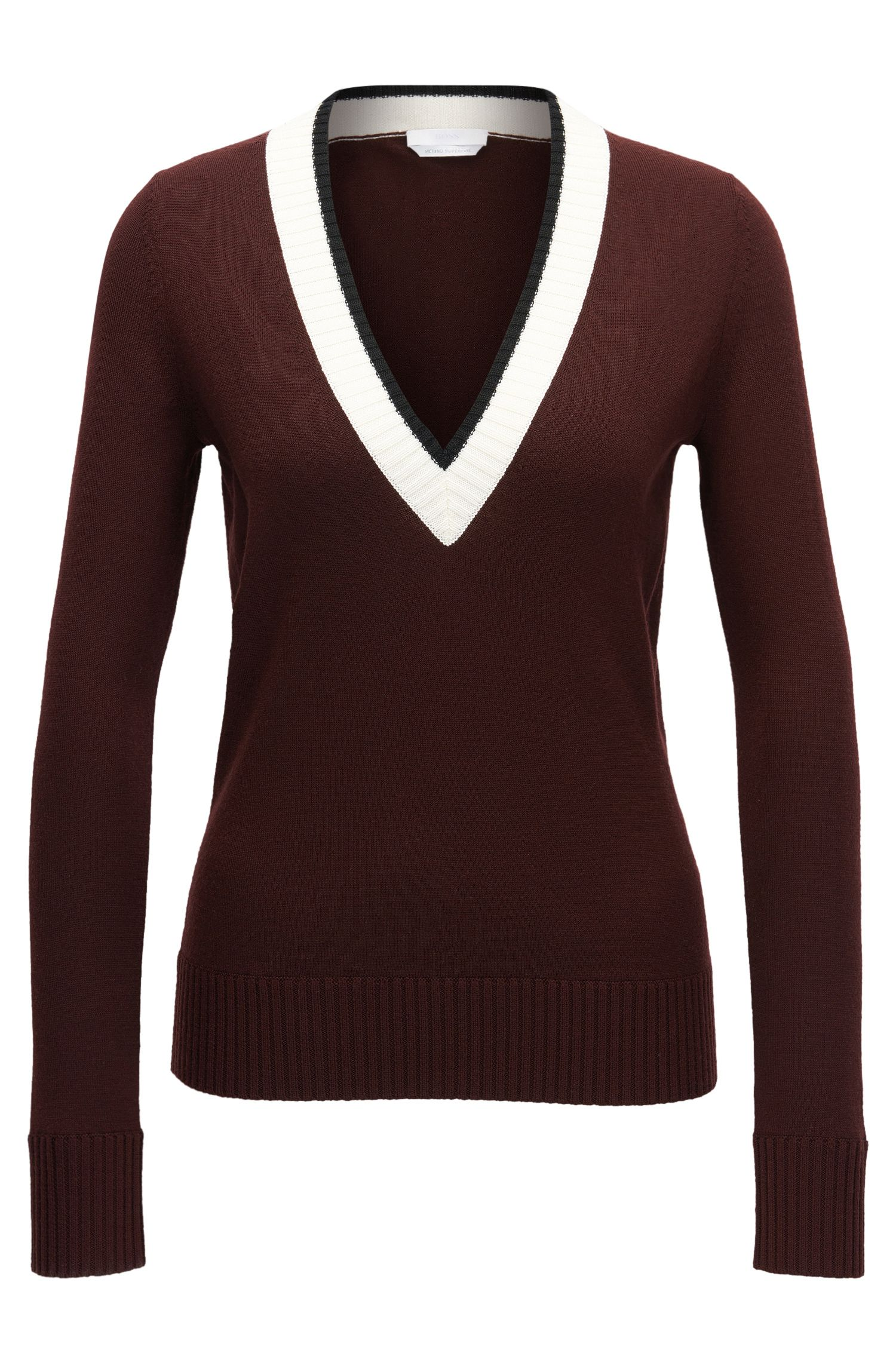 Cropped V-neck sweater in mercerised virgin wool