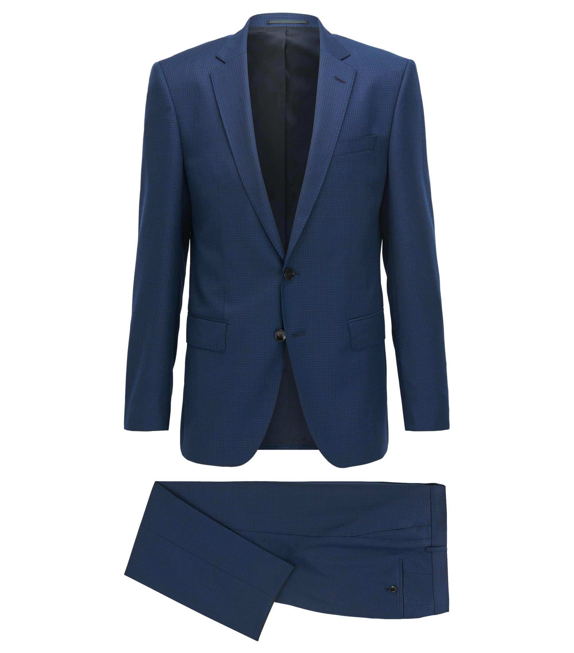 Slim-fit serge suit in virgin wool, Dark Blue