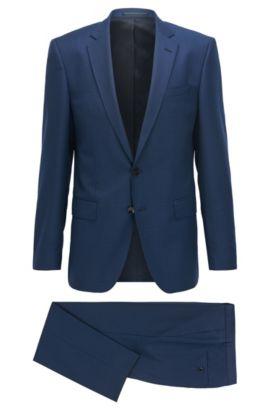 Traje slim fit en sarga de lana virgen, Azul oscuro