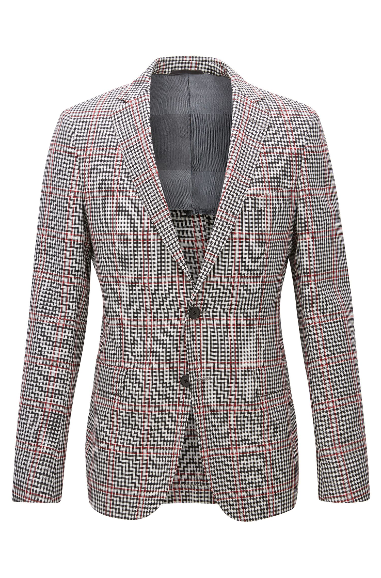 Blazer extra slim fit in lana vergine a quadri