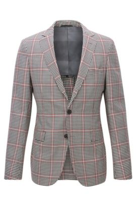 Extra-slim-fit blazer in checked virgin wool, Dark Grey