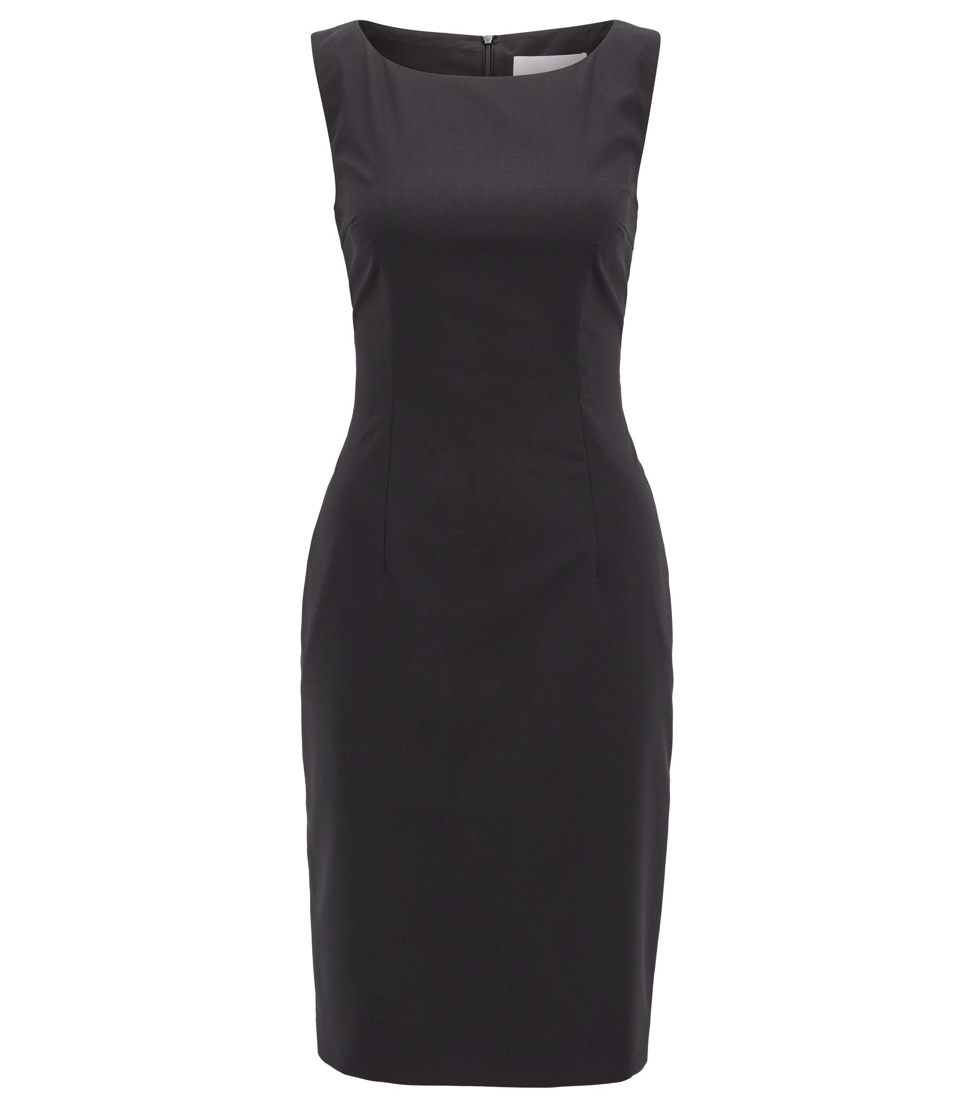Sleeveless shift dress in stretch virgin wool, Black