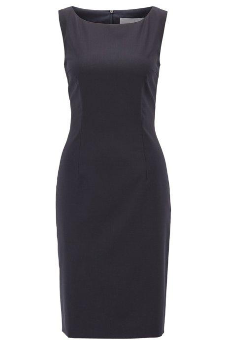 Sleeveless shift dress in stretch virgin wool, Dark Blue