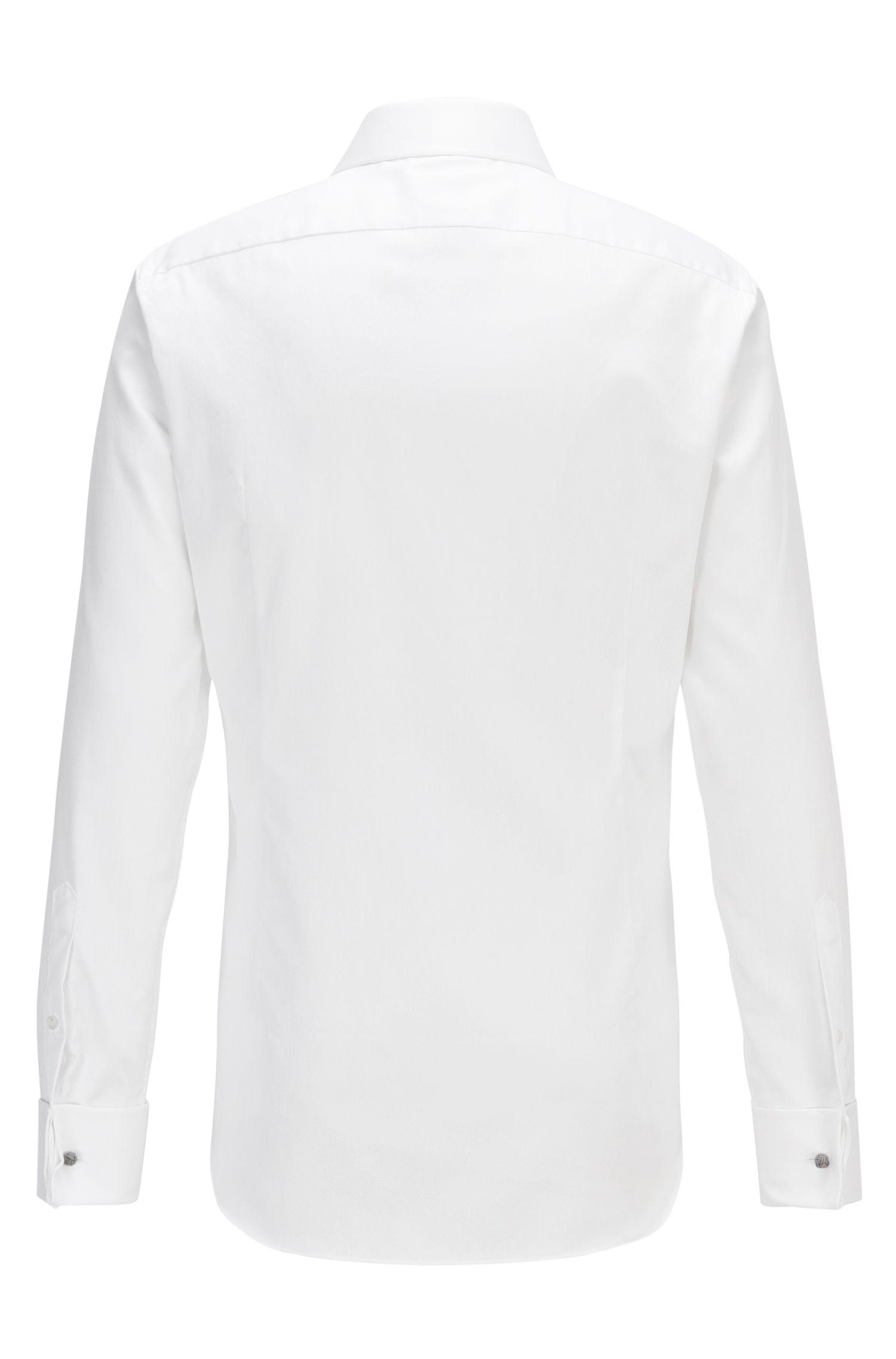 Chemise Slim Fit en coton structuré à bas des manches mousquetaires