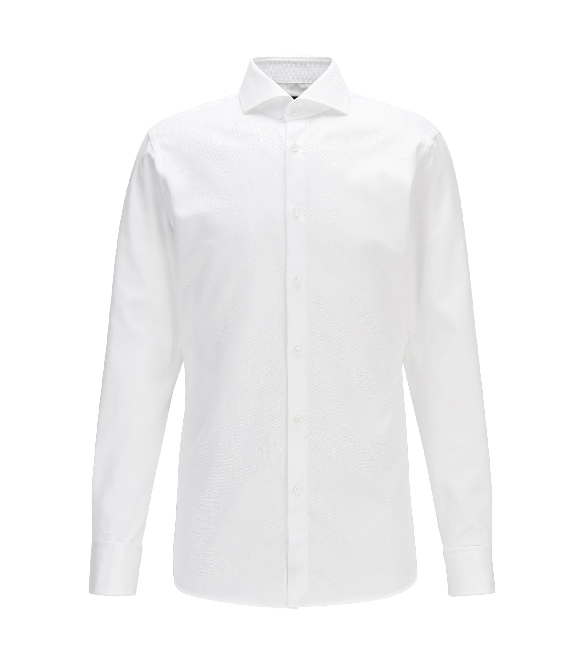 Structured-cotton shirt in a slim fit with double cuffs, White