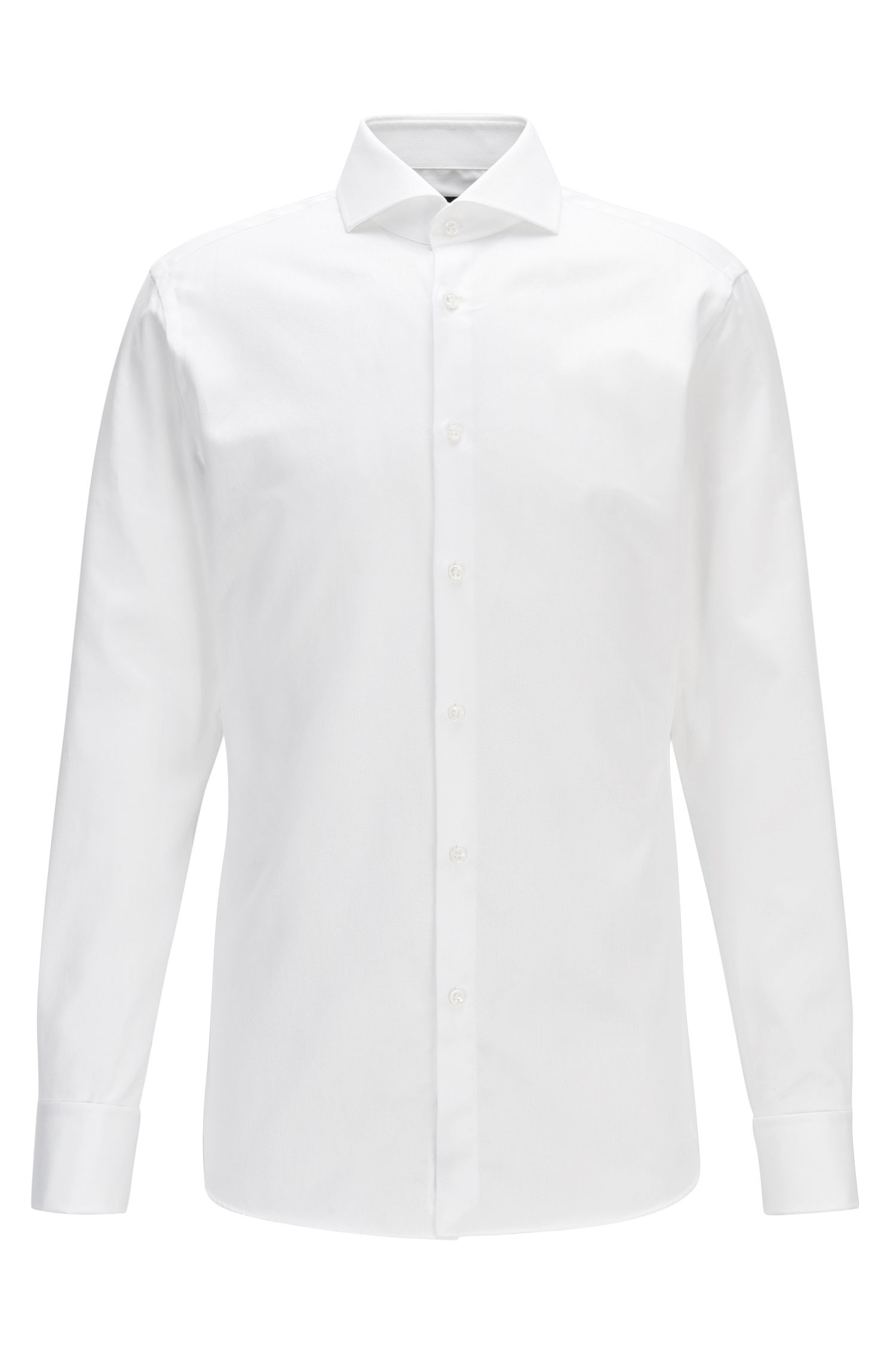 Structured-cotton shirt in a slim fit with double cuffs