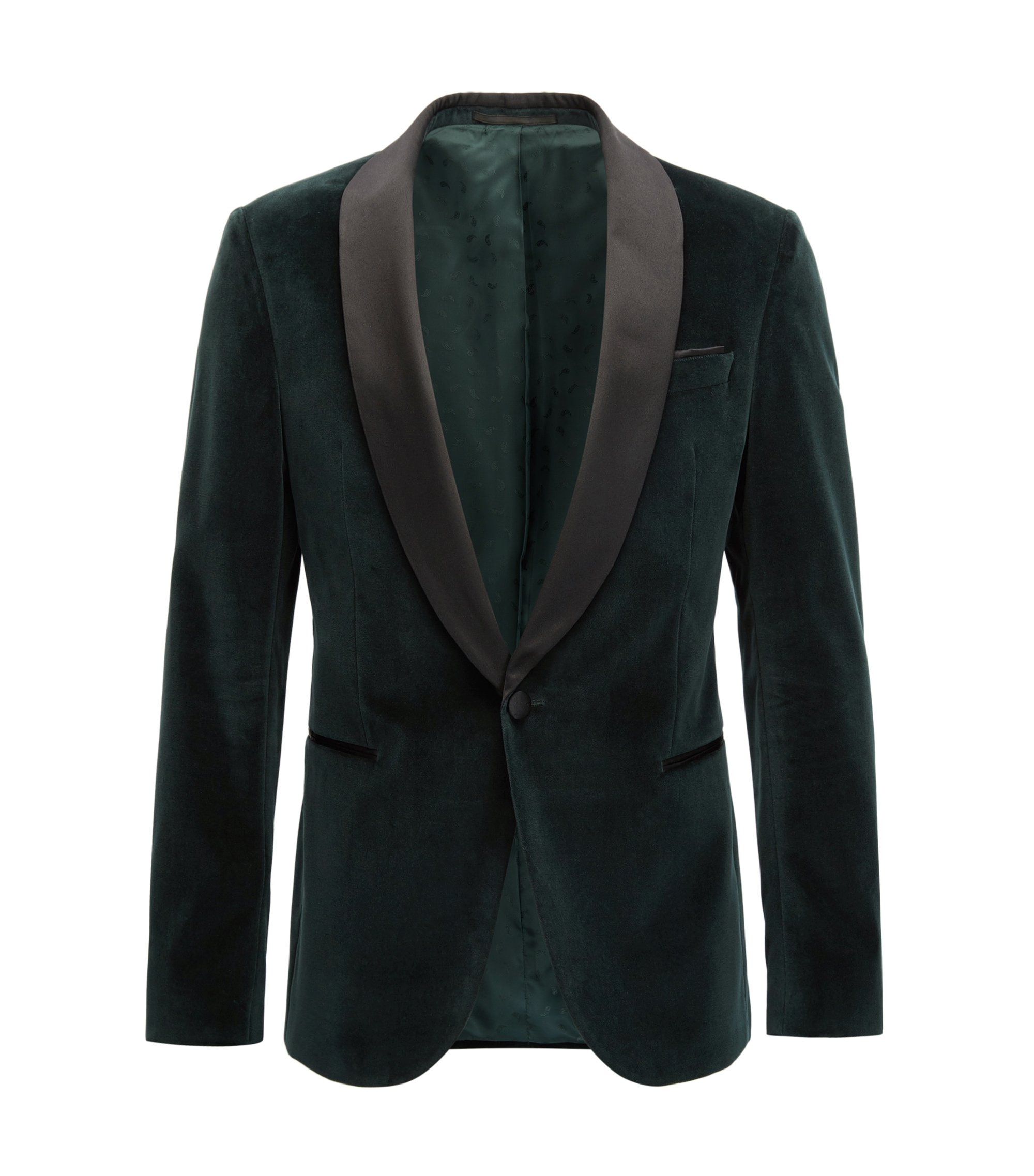 Giacca da smoking slim fit in velluto con revers in seta, Verde scuro