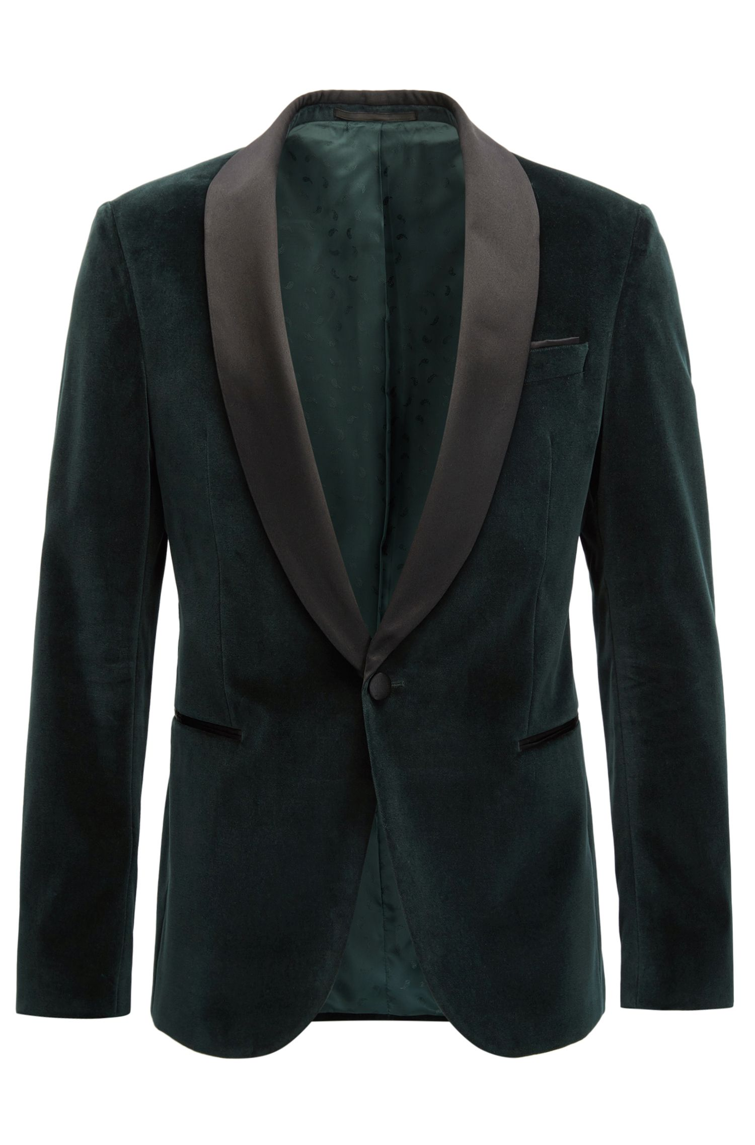 Veste de smoking Slim Fit en velours à revers en soie