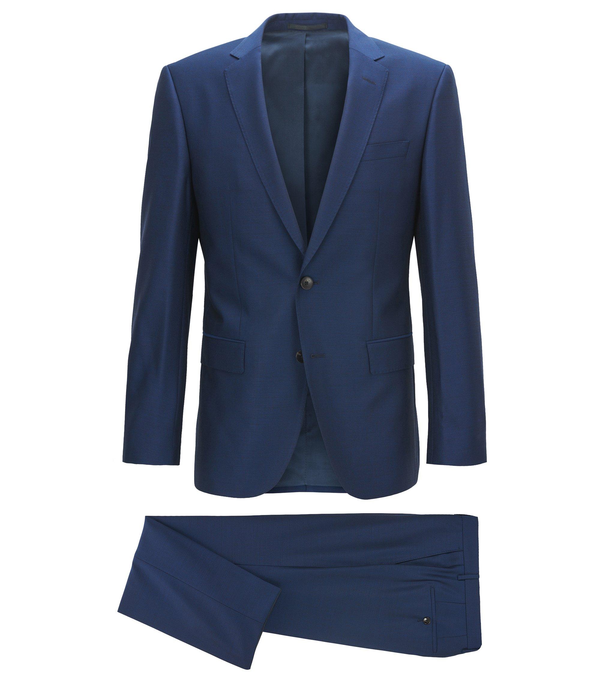 Slim-fit kostuum van scheerwol met microdessin , Donkerblauw