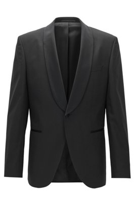 Veste Regular Fit en laine vierge à col châle, Noir