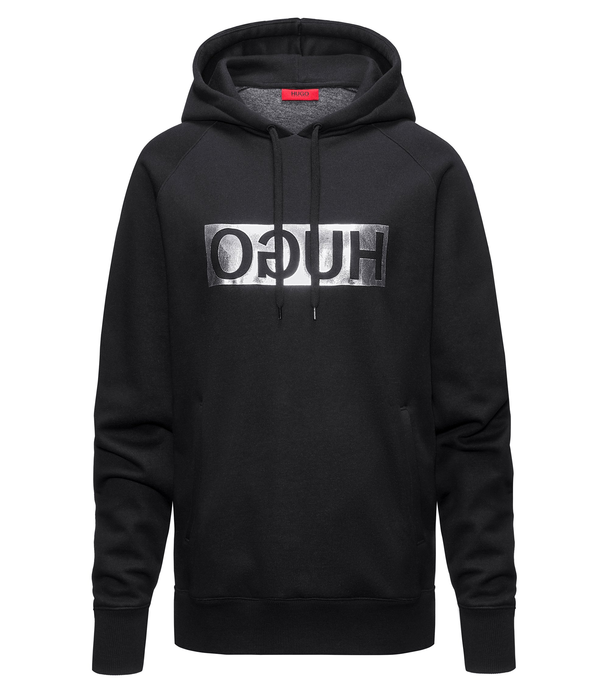 Hooded sweatshirt with metallic reversed logo, Black