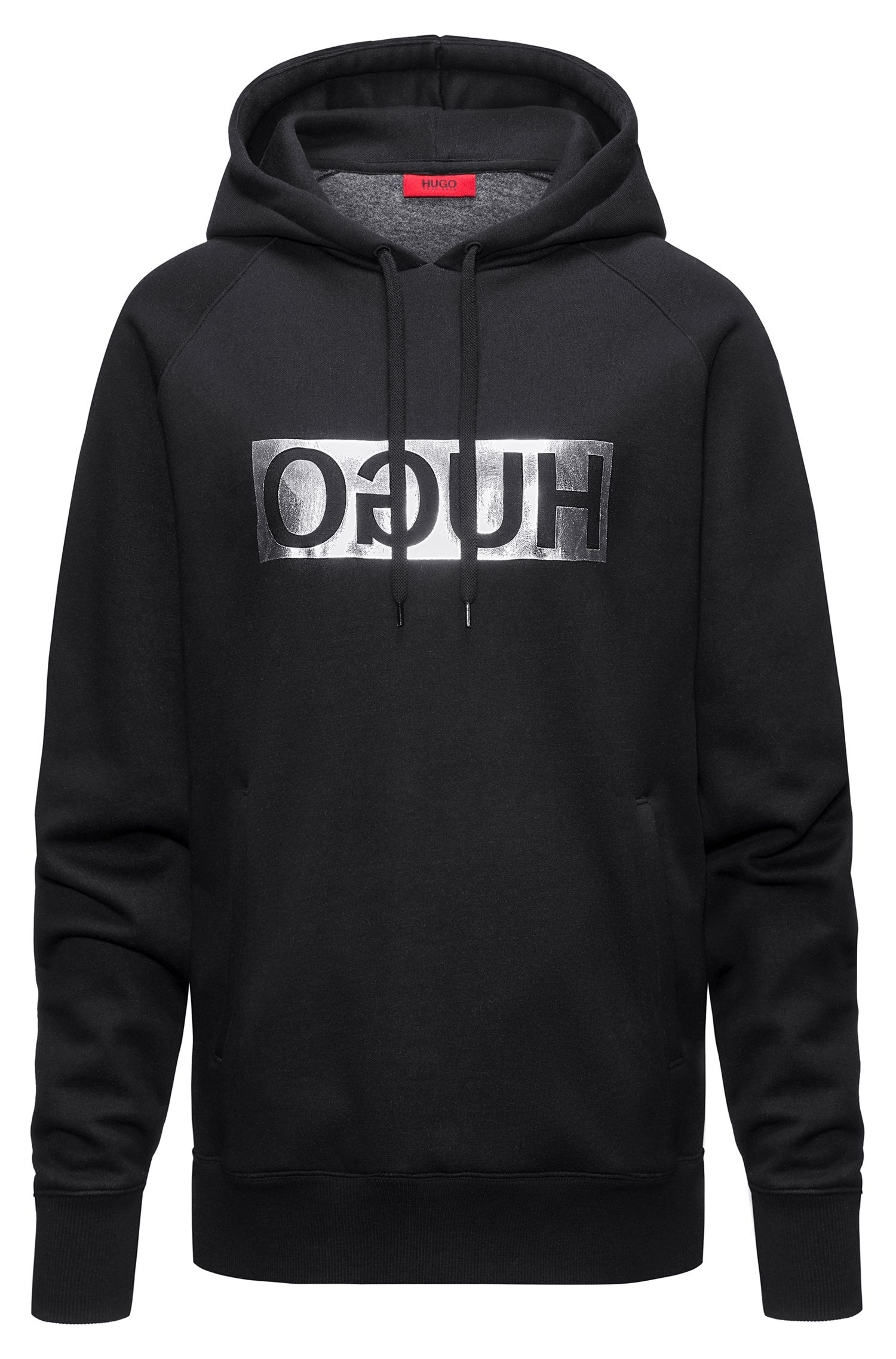 Hooded sweatshirt with metallic reversed logo