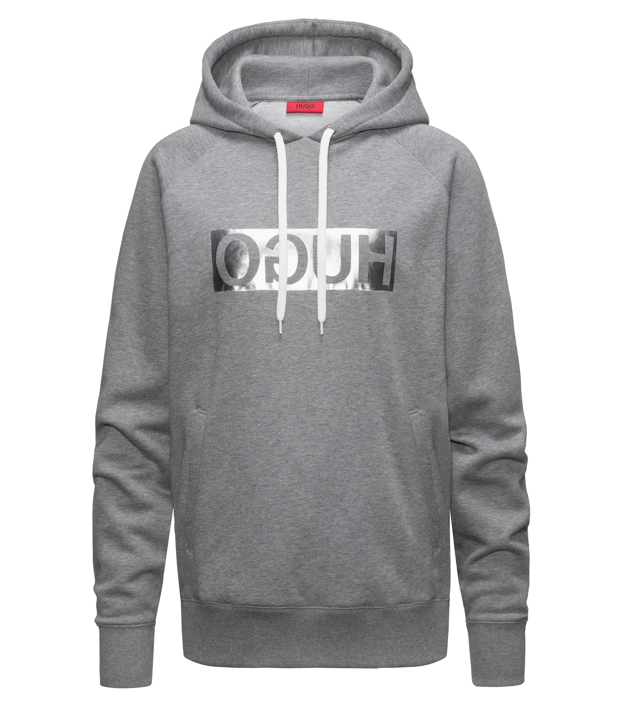 Hooded sweatshirt with metallic reversed logo, Grey