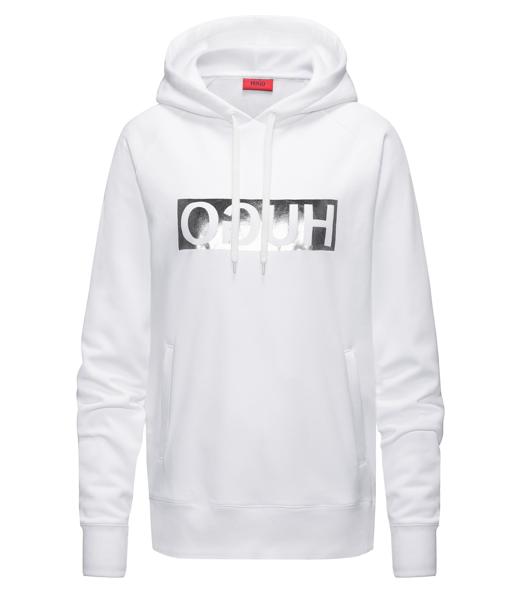 Hooded sweatshirt with metallic reversed logo, White