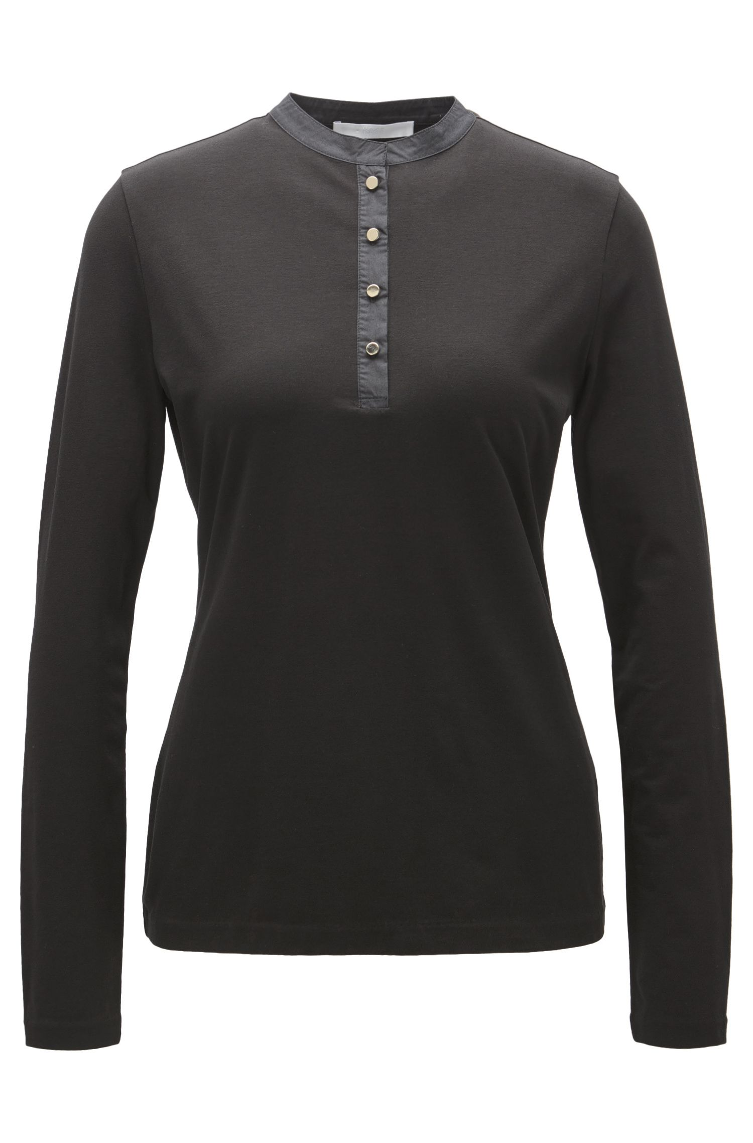Henley top with metallic buttons