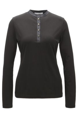 Henley top with metallic buttons, Black