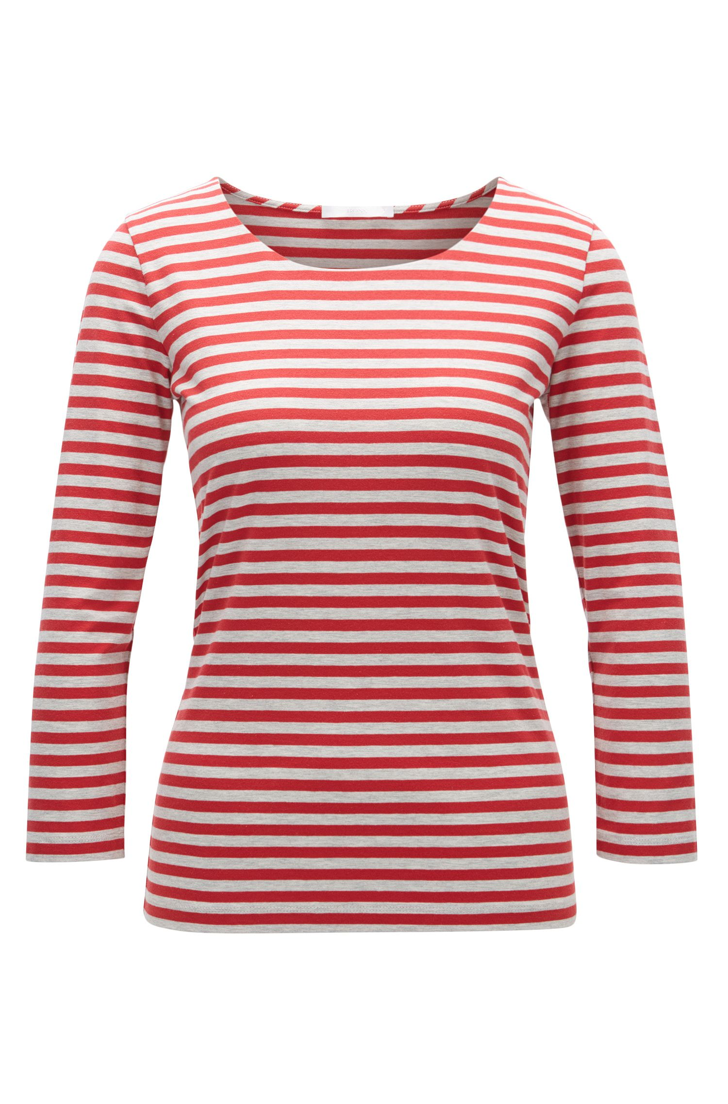Regular-fit T-shirt in striped single jersey