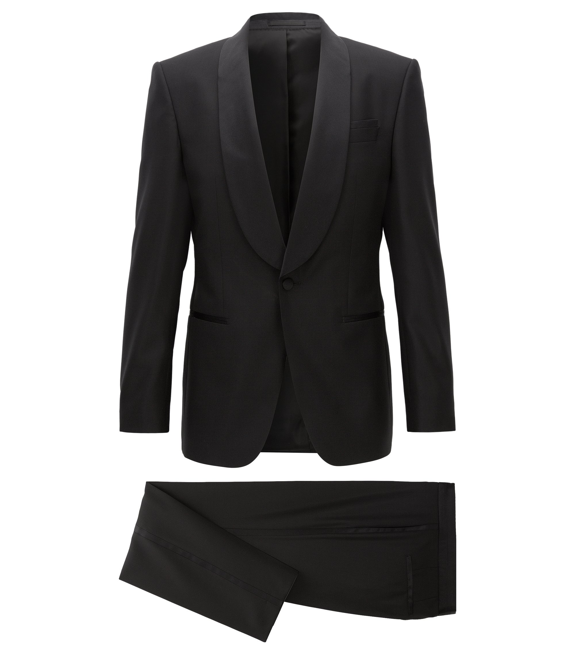 Slim-fit tuxedo suit in a wool blend, Black