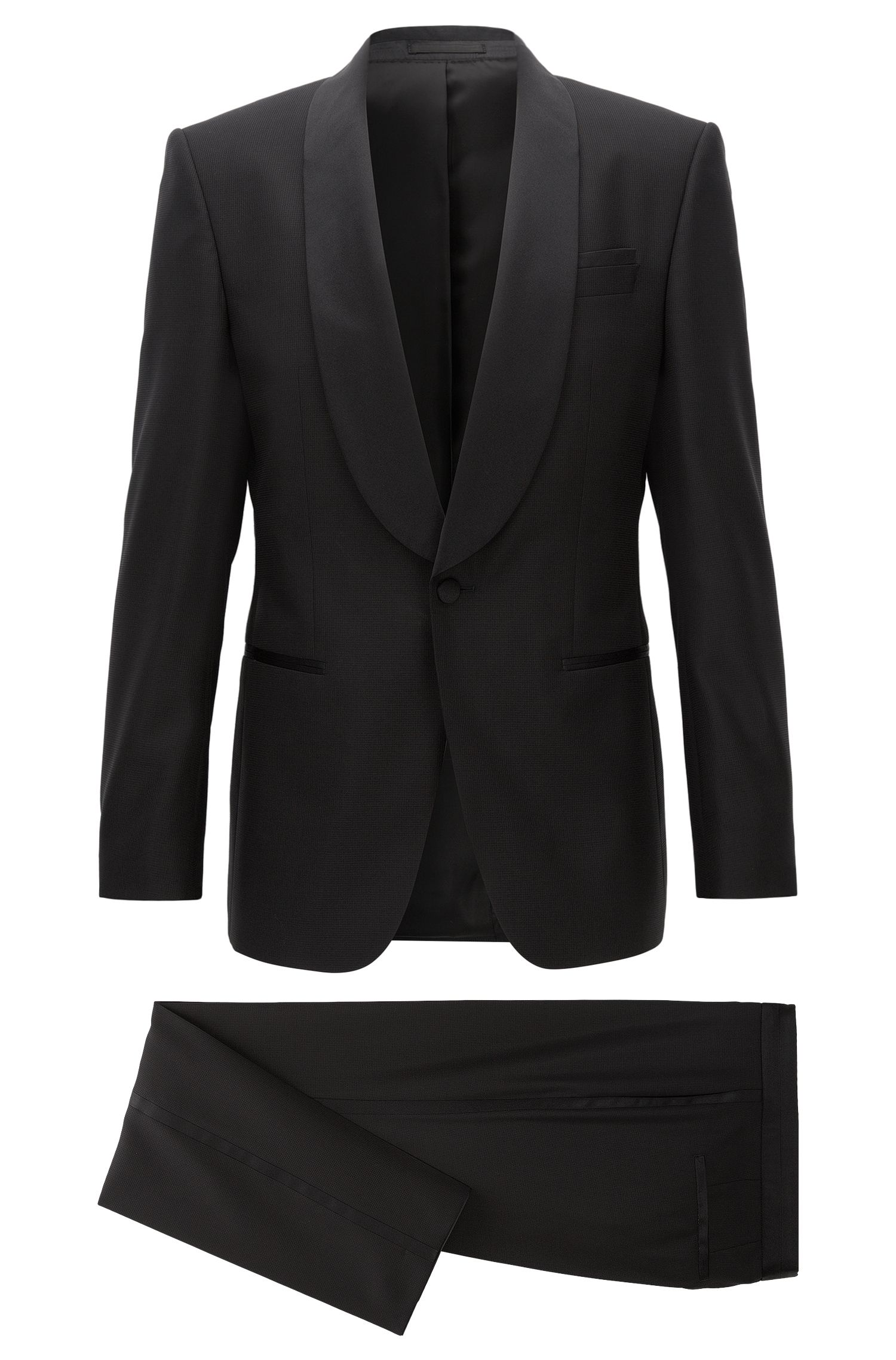 Slim-fit tuxedo suit in a wool blend