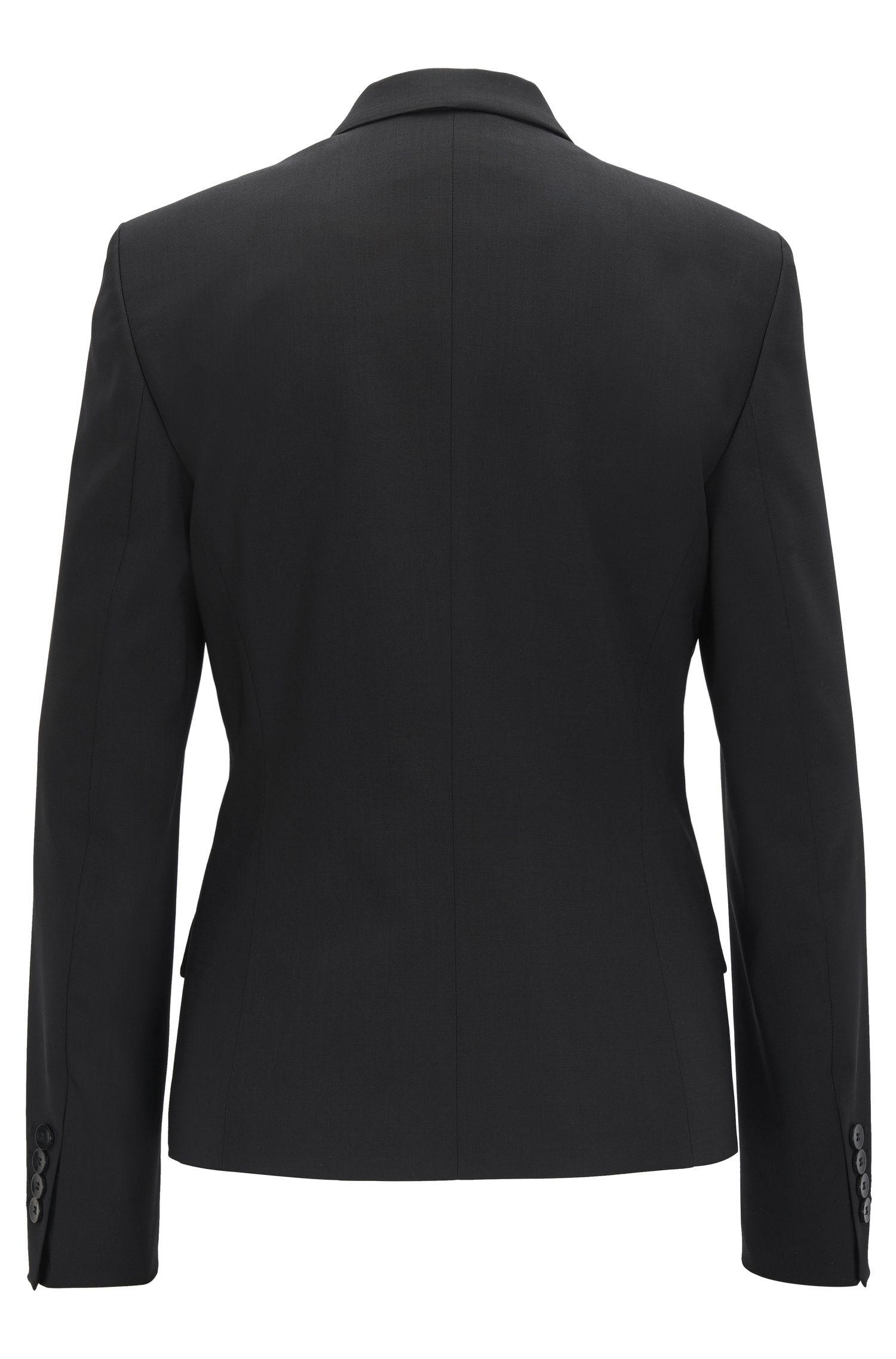 Blazer regular fit in lana vergine elasticizzata