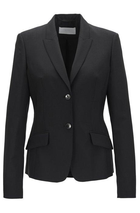Regular-fit blazer in stretch virgin wool, Black