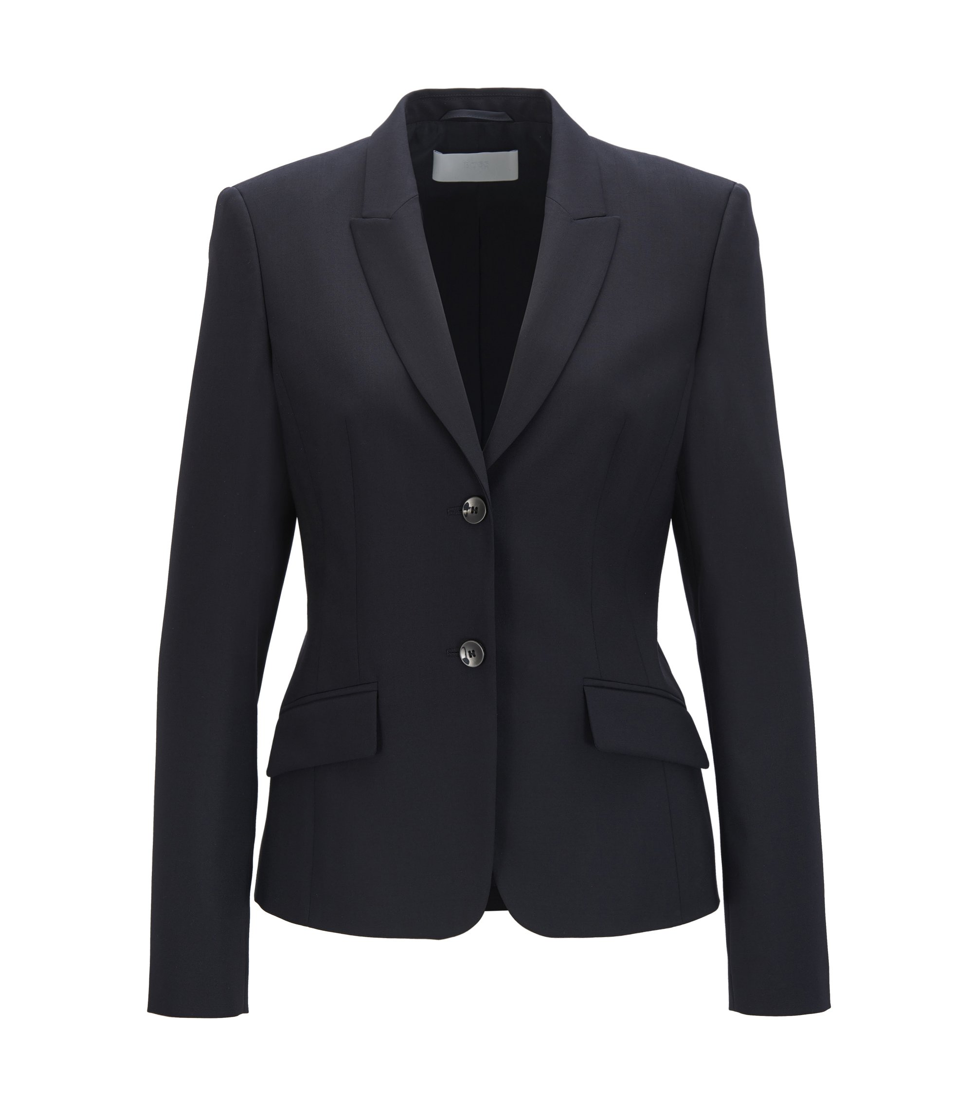 Regular-fit blazer in stretch virgin wool, Dark Blue